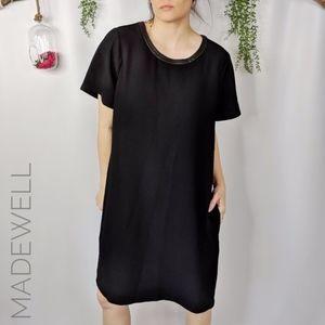MADEWELL leather trim crepe shift dress black 122